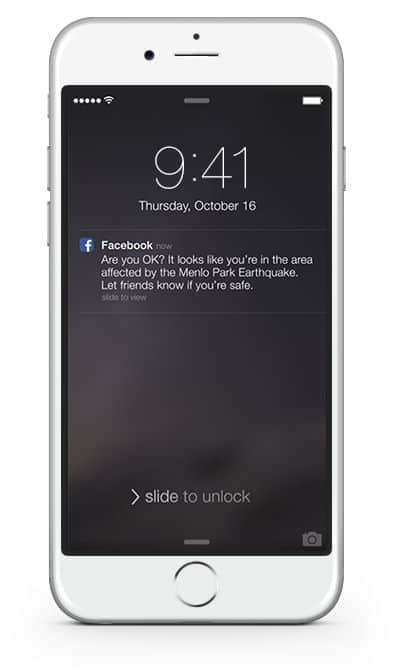 Facebook safety check phone